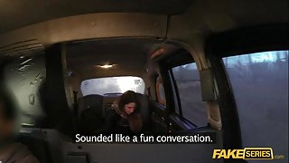 Kinky Brunette Saml takes a free ride in a fake taxi
