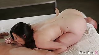 Passionate twat banging for a cute small tits milf