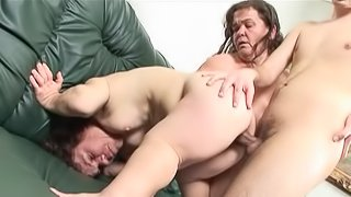 Horny cougars in ffm threesome action getting nailed hardcore