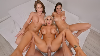 Emily Addison, Nina Elle & Rachel Starr Are All Oiled Up And Ready For A Hard Cock