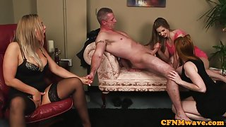 CFNM wife aroused while hubby gets cocksucked
