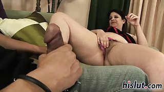 Raunchy fatty has her hirsute muff plugged