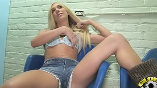 Sexy Blond Was Masturbating When Gloryhole Cock Came Out