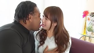 Thick bodied Japanese bitch gets introduced to a big black cock