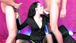 Smoking hot pornstar Jasmine Lau with small tits gets facial after sucking two cocks