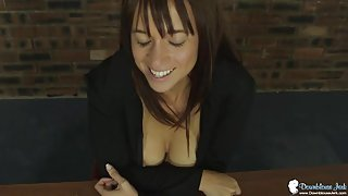 Babe takes off her bra to tease her sexy cleavage