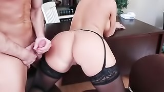 tall blonde vixen with big tits gets horny after watching some porn