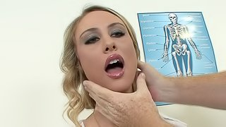 Mature hunk gives a full examination to a stunning blonde