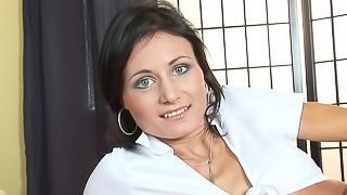 Sexy Euro girl masturbates her pussy with a plug in her asshole