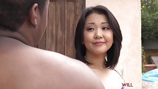 Stunning Asian babe with amazing tits gets plowed by a BBC