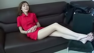 Tickle Chinese beauty in socks and nylon