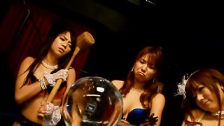 Three hot Japanese chicks give a stunning blowjob to a lucky dude