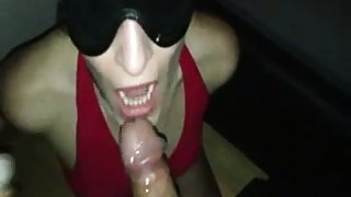 Blindfolded wife gets two dicks