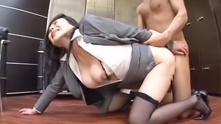 Slutty Japanese office chick gets fucked hard doggystyle