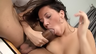 A good looking harlot is using her mouth to get some cum in her face