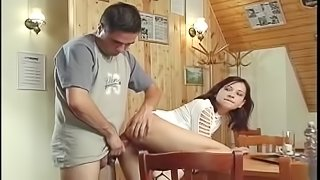 Chick sucks a boner before being plowed up her ass on a table