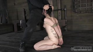 Pierced nose girl throat fucked by a rigid dick