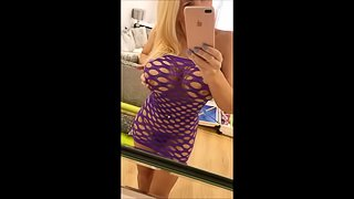 Sexy purple fishnet mini dress pussy fingering