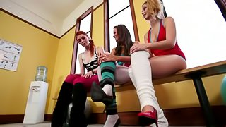 Lesbian Foot Fetish Video with Strapon and Toying Action