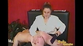 Kinky dude receives some hardcore spanking from a bespectacled slag