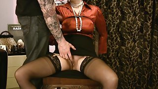 Mesmerizing mature wearing silk tied up and drilled