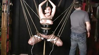Fat MILF gets tied and toyed hard by her master