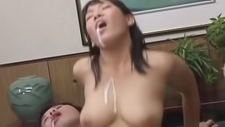 Reception girl Saki Okuda gets banged on the couch