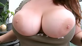 A fat chick plays with her nasty tits and supresses a cock
