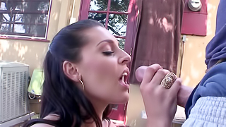 Brunette porn star with a giant butt rides a huge meat pole