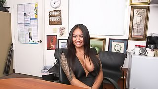 Delicious brunette Natalia is late to the fuck audition