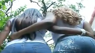 Threesome sex on the poolside with two divine ebony angels