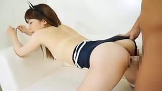 Japanese cutie moans loudly while getting her vag drilled every which way