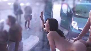 BoxTruckSex, Hot girl fucked in a one-way mirrored truck in public