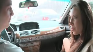 Blonde babe in the car getting her ass toy fucked and fingered