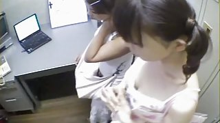 Two babes share one prick in voyeur Japanese sex video