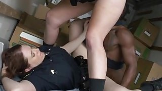 Police car and busty lesbian cop Black