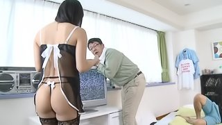 Lingerie-clad Asian babe with petite tits enjoying a hardcore doggy style fuck