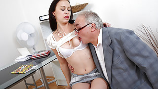 TrickyOldTeacher - Older sexy teacher fucks sexy student and covers tits with cum