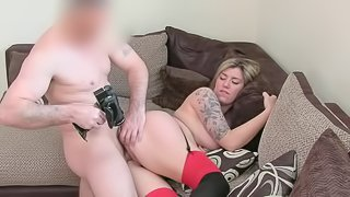 Tattooed Yuffie gives a deep blowjob so sexy