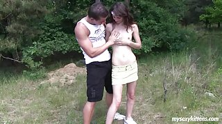 Small breasted teen Aimee fuck giant cock