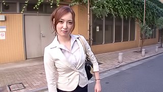 Asian chick under the office table sucking cock in job interview
