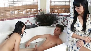 Asian Milf Oversees Teen Daughter Jacking Off House Guest
