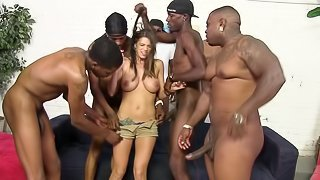 Interracial gangbang for a sizzling brunette Brooklyn Chase