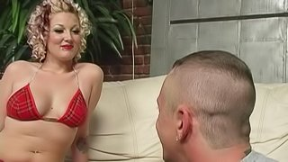 Penetrating a busty blonde babe while her husband is watching