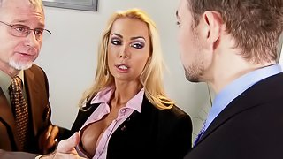 Busty blonde Devon blows and gets her pussy drilled in all positions