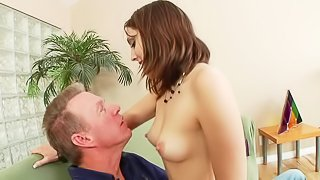 Topless cute girl Nickey Huntsman in pink panties shows her beautiful tits while giving blowjob to Nickey Huntsman. She eats his mature cock and cant get enough!