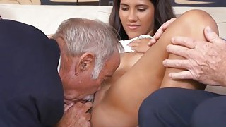 Dirty Latin Teenage Ho Fucked By Two Very Old Geezers
