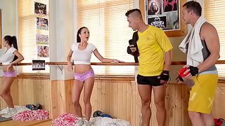 Patty in hot pants giving dick titjob till the guy cums on her tits