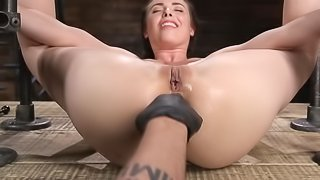 Tied up brunette anally dominated by master in various ways