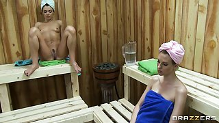 Babes take a sauna and get horny looking at each other, then touch boobies
